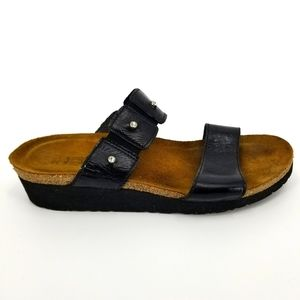 Naot Ashley Black Leather Strap Wedge Sandal